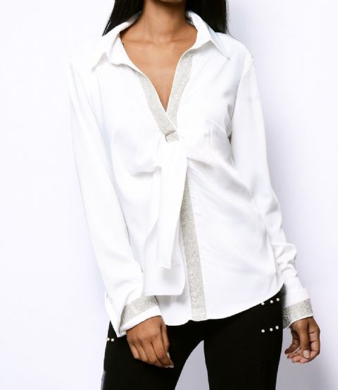 Crystal Diamanté Shirt White